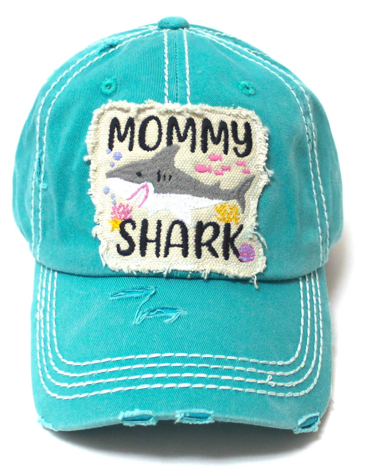 Womens Distressed Adjustable Hat Mommy Shark Patch Embroidery Monogram Ballcap, Seaworld Blue - Caps 'N Vintage