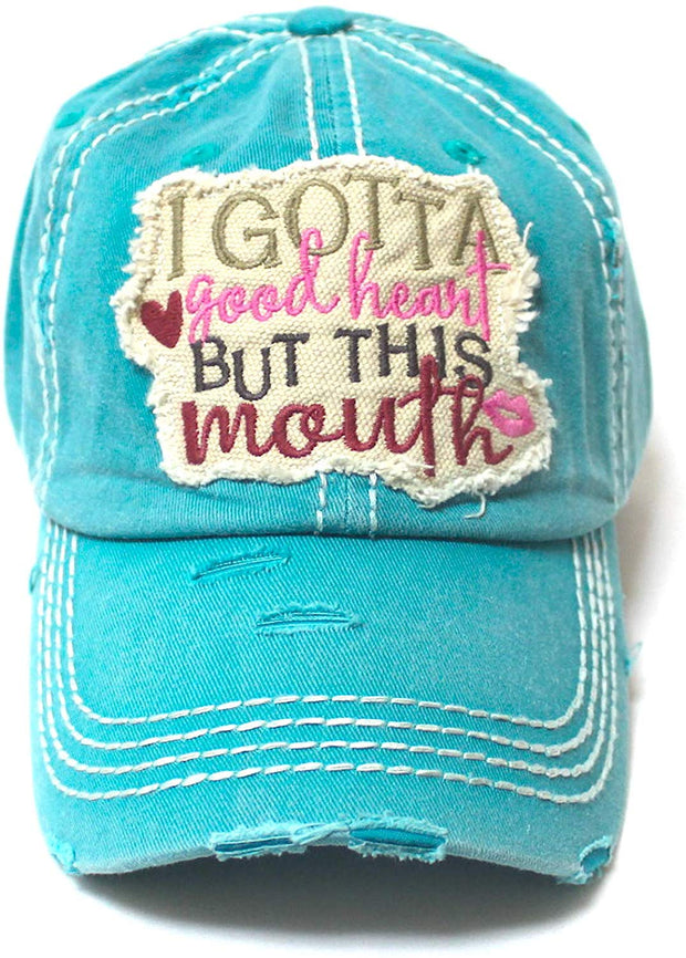 Women's Distressed Ballcap I Gotta Good Heart but This Mouth Hearts, Kisses Patch Embroidery Hat, Turquoise - Caps 'N Vintage