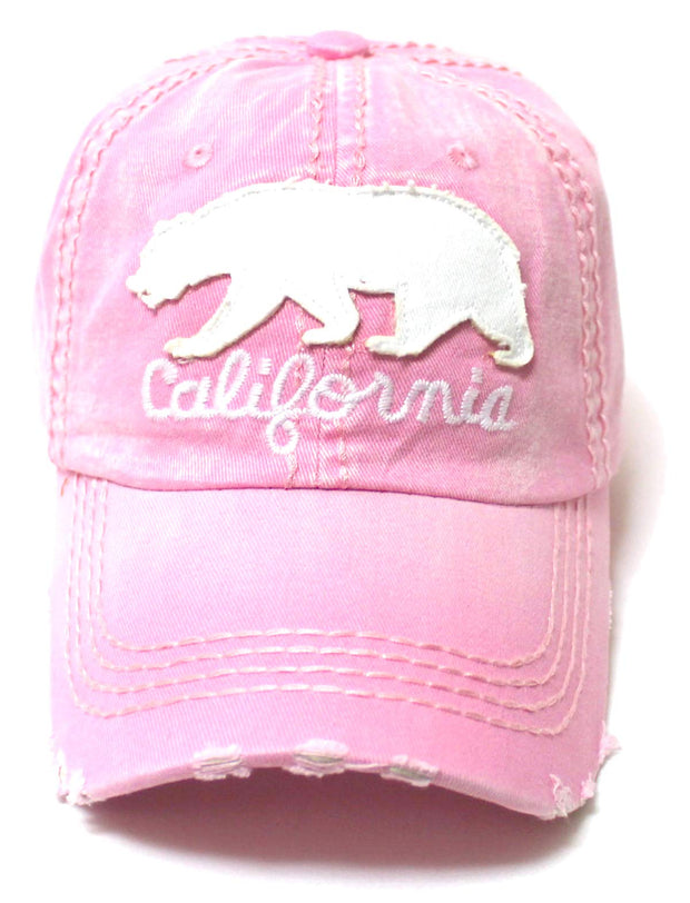 CAPS 'N VINTAGE Distressed Adjustable Ballcap California Bear Monogram Embroidery Hat, Washed Princess Pink - Caps 'N Vintage