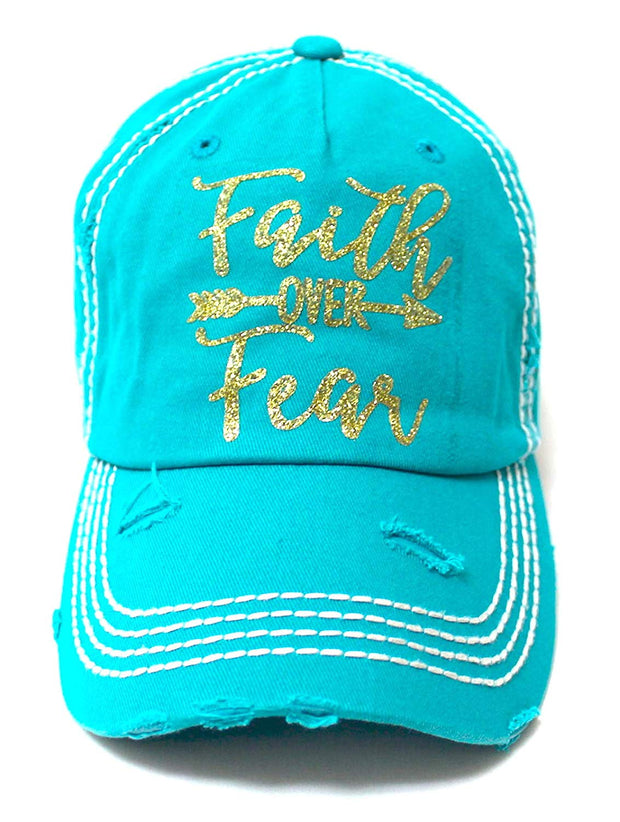 Women's Baseball Cap Faith Over Fear Glitter Monogram Hat, Turquoise Blue - Caps 'N Vintage