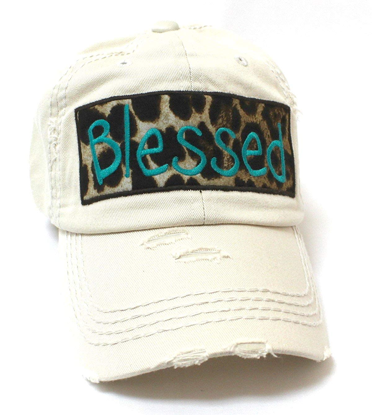 CAPS 'N VINTAGE Stone Ivory Blessed Leopard Patch Embroidery Hat - Caps 'N Vintage