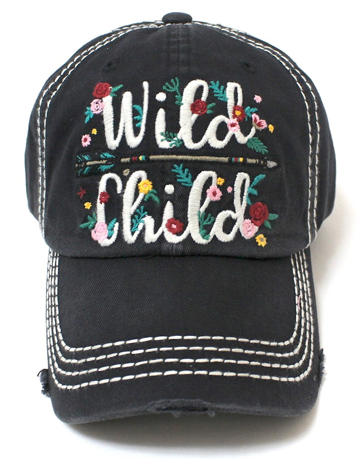 New!! Black Wild Child Floral Arrow Embroidery Cap - Caps 'N Vintage
