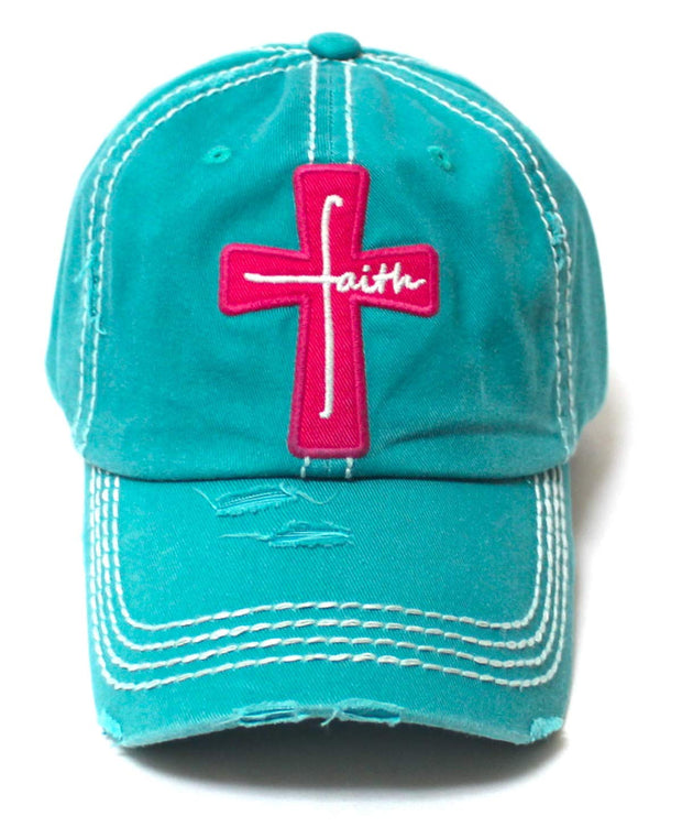 Women's Baseball Cap Faith Monogram Cross Patch Embroidery Monogram Hat, Jewel Turquoise