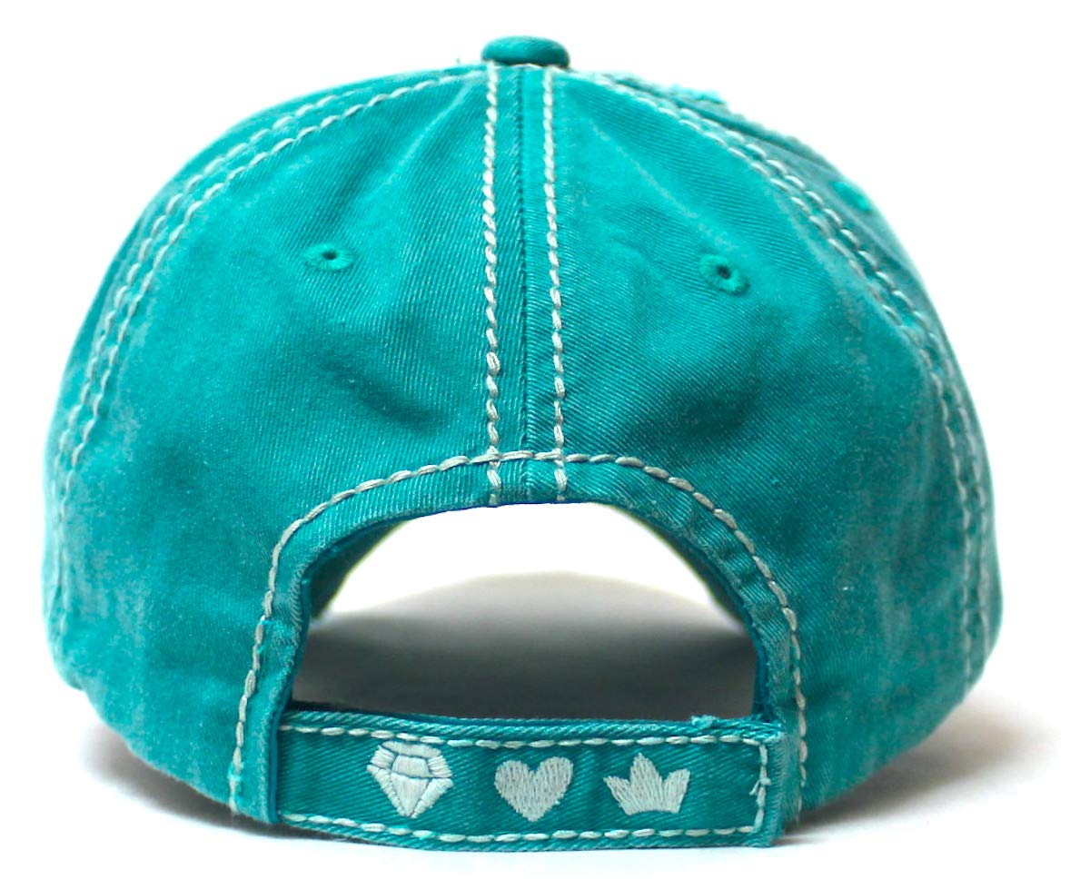 Women's Vintage Baseball Cap Wife, Mom, Boss Crown Diamond Hearts Monogram Embroidery Hat, Beach Turquoise