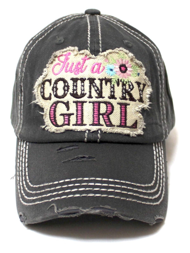 Women's Summer Cap Just a Country Girl Spring Floral Patch Embroidery Adjustable Hat, Vintage Black - Caps 'N Vintage