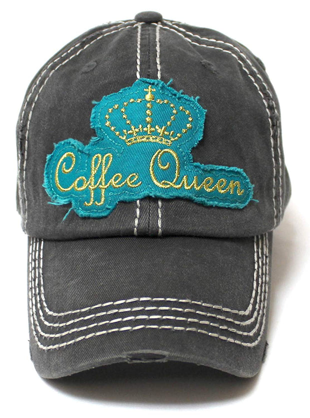 Women's Adjustable Ballcap Coffee Queen Royalty Patch Embroidery, Blk - Caps 'N Vintage