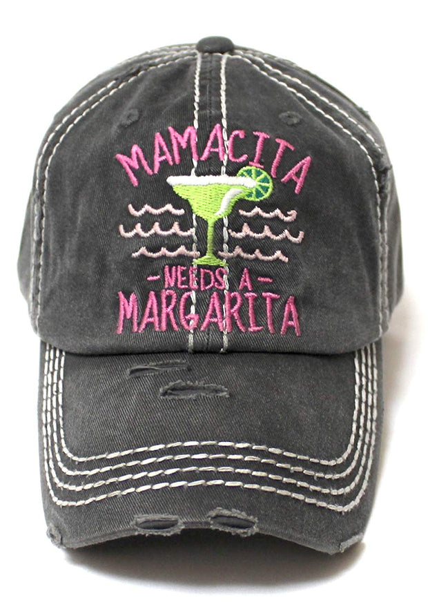 Women's Beach Cap Mamacita Needs A Margarita Monogram Hat, Blk - Caps 'N Vintage