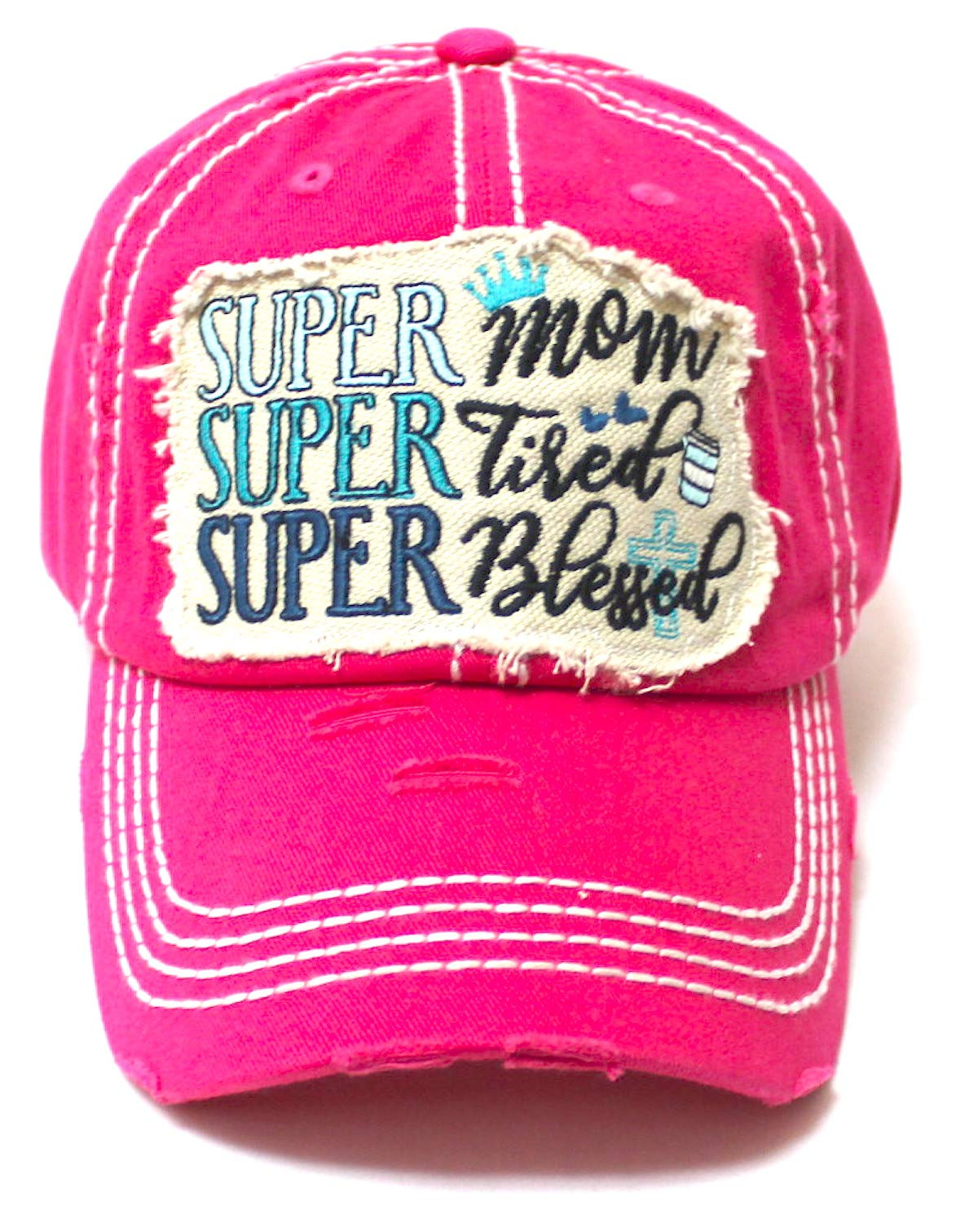 CAPS 'N VINTAGE Women's Baseball Cap Super Mom, Super Tired, Super Blessed Patch Embroidery Hat, Hot Pink