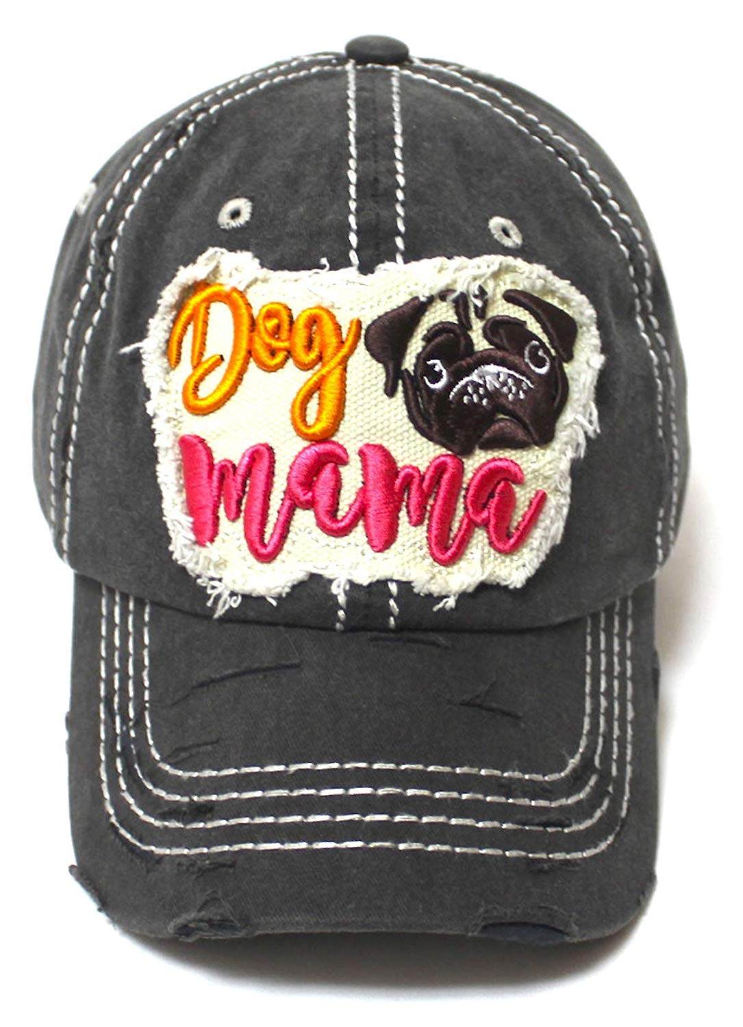Women's Ballcap Dog Mama Pug Face Patch Embroidery Unconstructed Hat, Vintage Black - Caps 'N Vintage