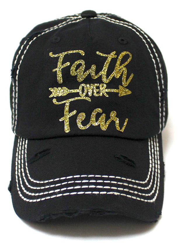 Women's Baseball Cap Faith Over Fear Glitter Monogram Hat, Vintage Black - Caps 'N Vintage