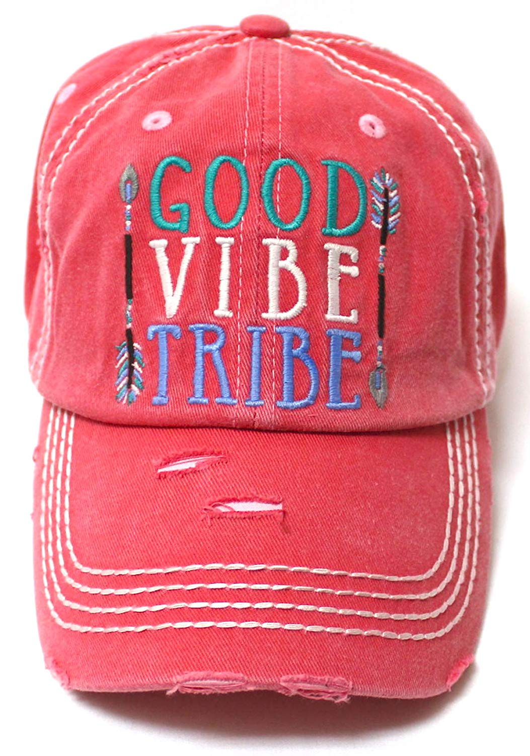 Women's Camping Cap Good Vibe Tribe Tribal Ethnic Arrow Monogram Embroidery Hat, Rose Pink - Caps 'N Vintage