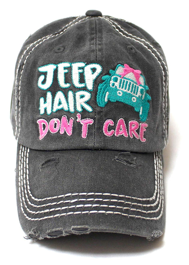 Ladies Bow-Tie Jeep Hair Don't Care Monogram Cheer Baseball Hat, Charcoal Black - Caps 'N Vintage