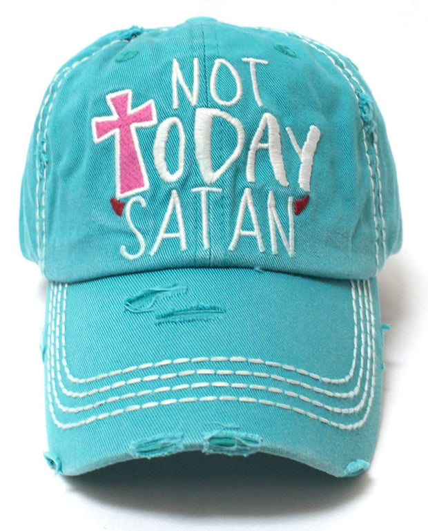 Turquoise NOT Today Satan Women's Distressed Ballcap - Caps 'N Vintage