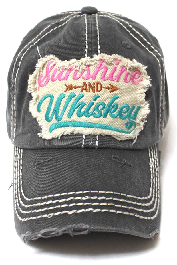 Women's Ballcap Sunshine and Whiskey Tribal Arrow Patch Embroidery Hat, Graphite - Caps 'N Vintage