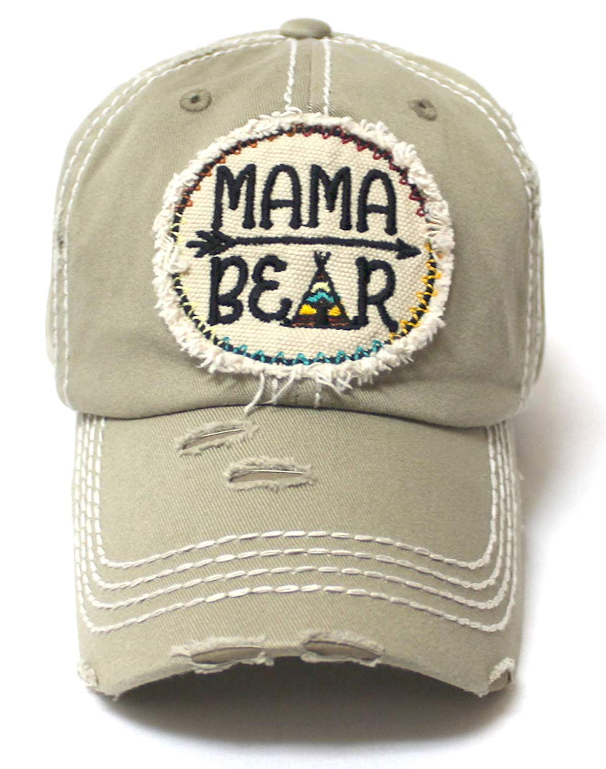 Women's Camping Cap Tribal Bohemian Mama Bear Patch Embroidery Hat, Khaki - Caps 'N Vintage