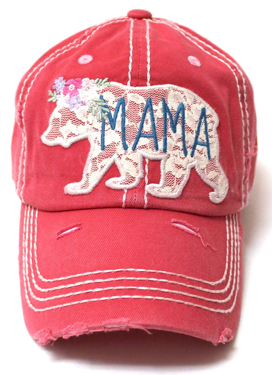 Women's Vintage Mama Graphic Cap, Spring Floral Lace Bear Embroidery, Rose Pink - Caps 'N Vintage