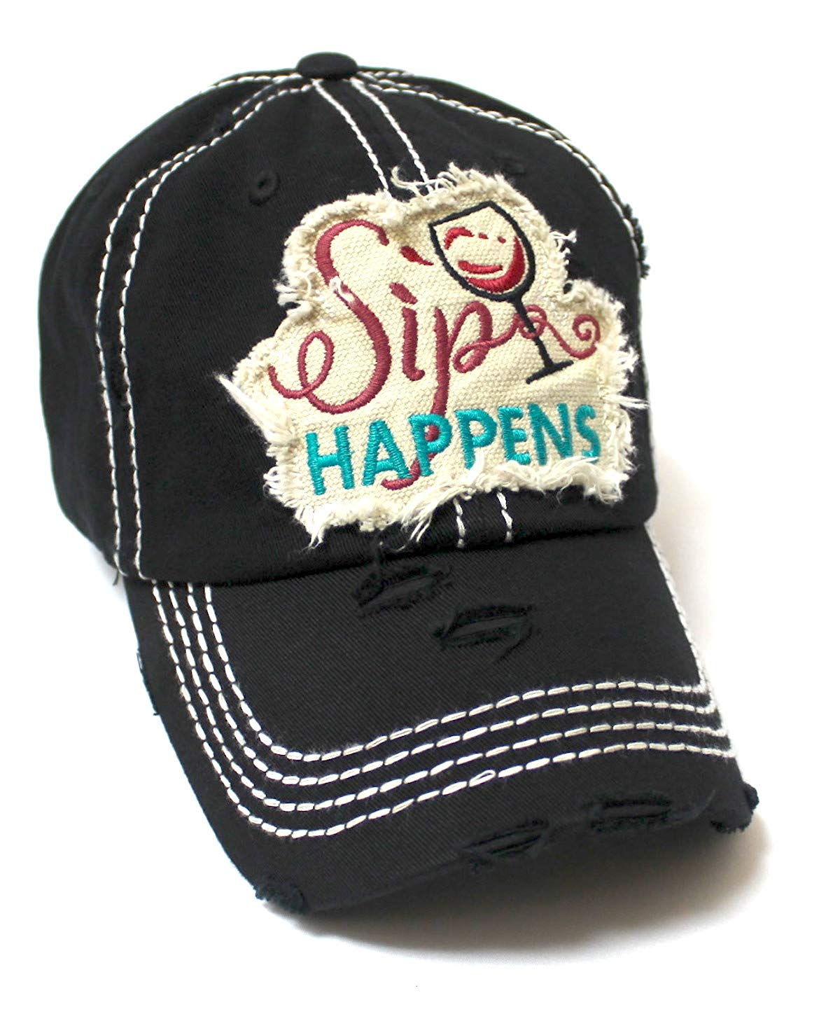 CAPS 'N VINTAGE Women's Baseball Cap Wine Glass Sip Happens Monogram Embroidery Hat, Black - Caps 'N Vintage