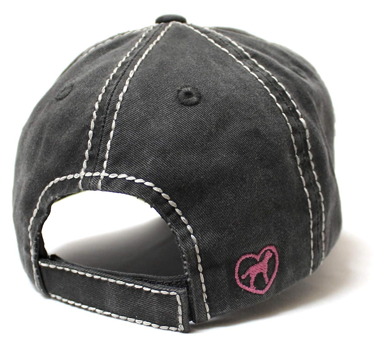 Women's Love Pink Cap Dog MOM Heart Patch Embroidery, Blk - Caps 'N Vintage