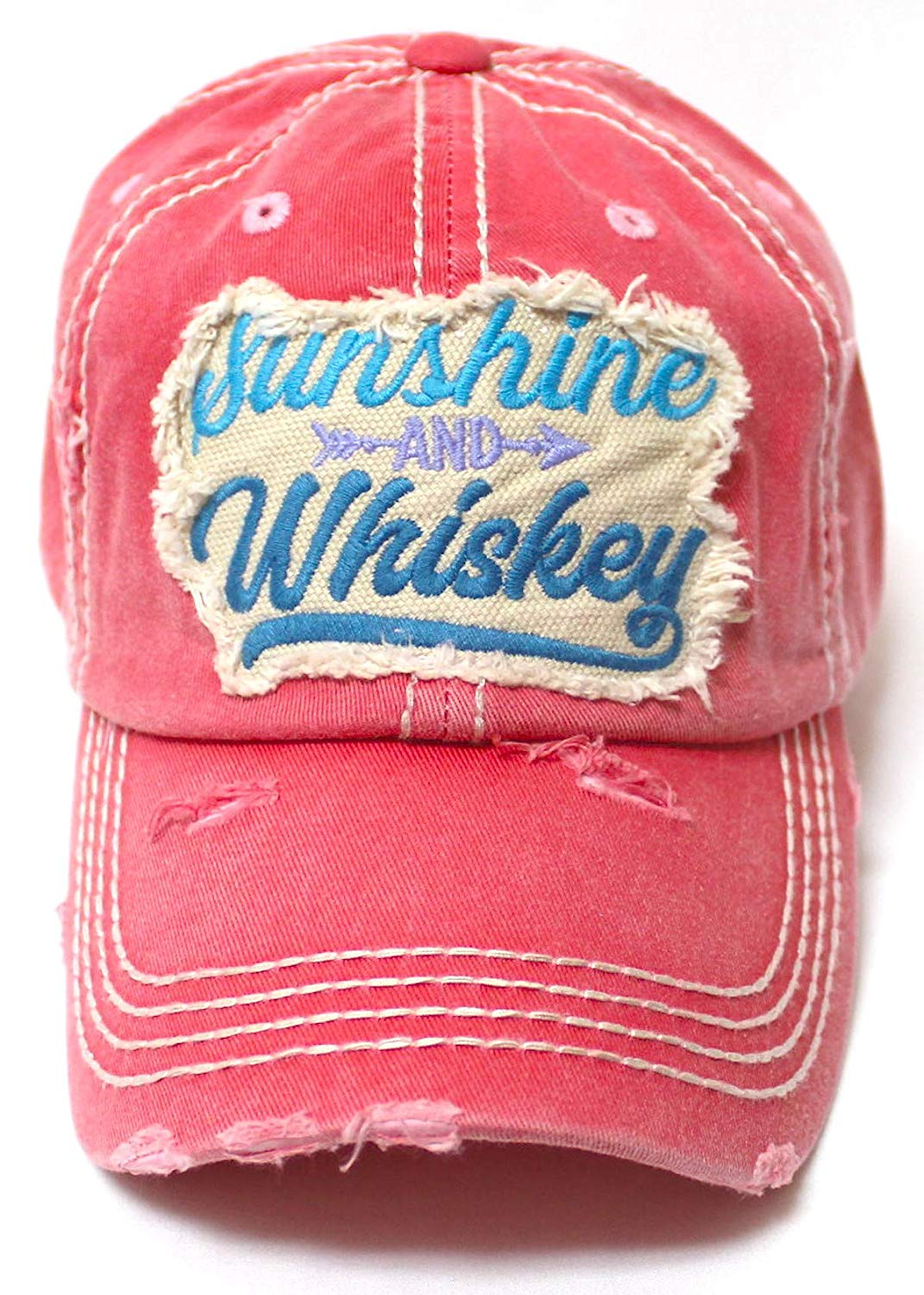 Women's Ballcap Sunshine and Whiskey Tribal Arrow Patch Embroidery Hat, Rose Pink - Caps 'N Vintage