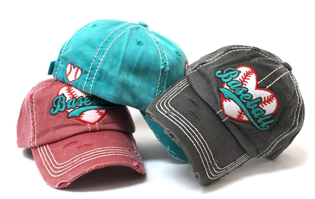 CAPS 'N VINTAGE New! Turquoise Baseball Heart Patch Women's Hat - Caps 'N Vintage