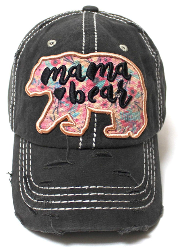 Women's Ballcap Mama Bear Floral Print Patch Rose Gold Embroidery Unconstructed Hat, Vintage Black - Caps 'N Vintage