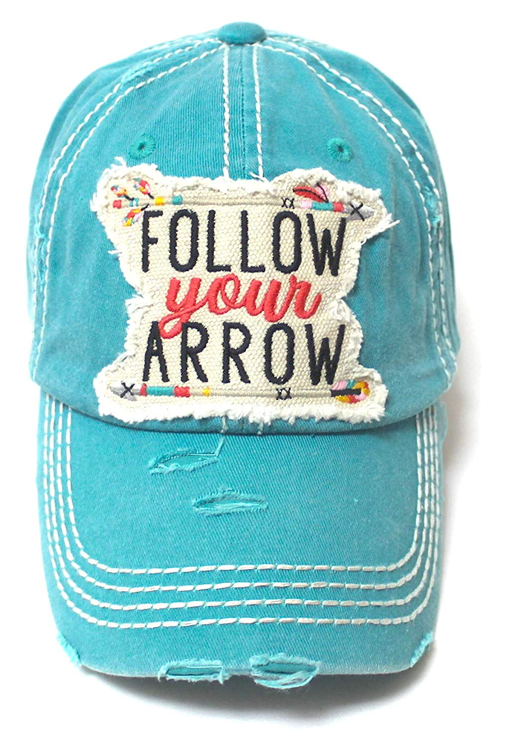 Camping Ballcap Follow Your Arrow Patch Embroidery Adjustable Baseball Hat, Turquoise Blue - Caps 'N Vintage