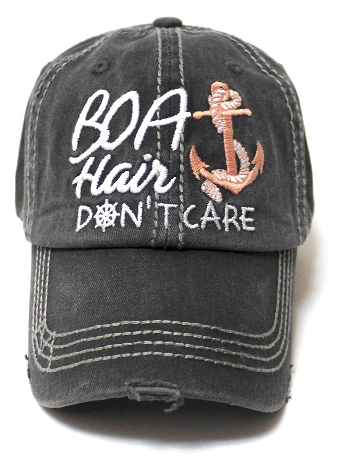 Beach Accessory Boat Hair Don't Care Monogram Baseball Hat, Vintage Black - Caps 'N Vintage