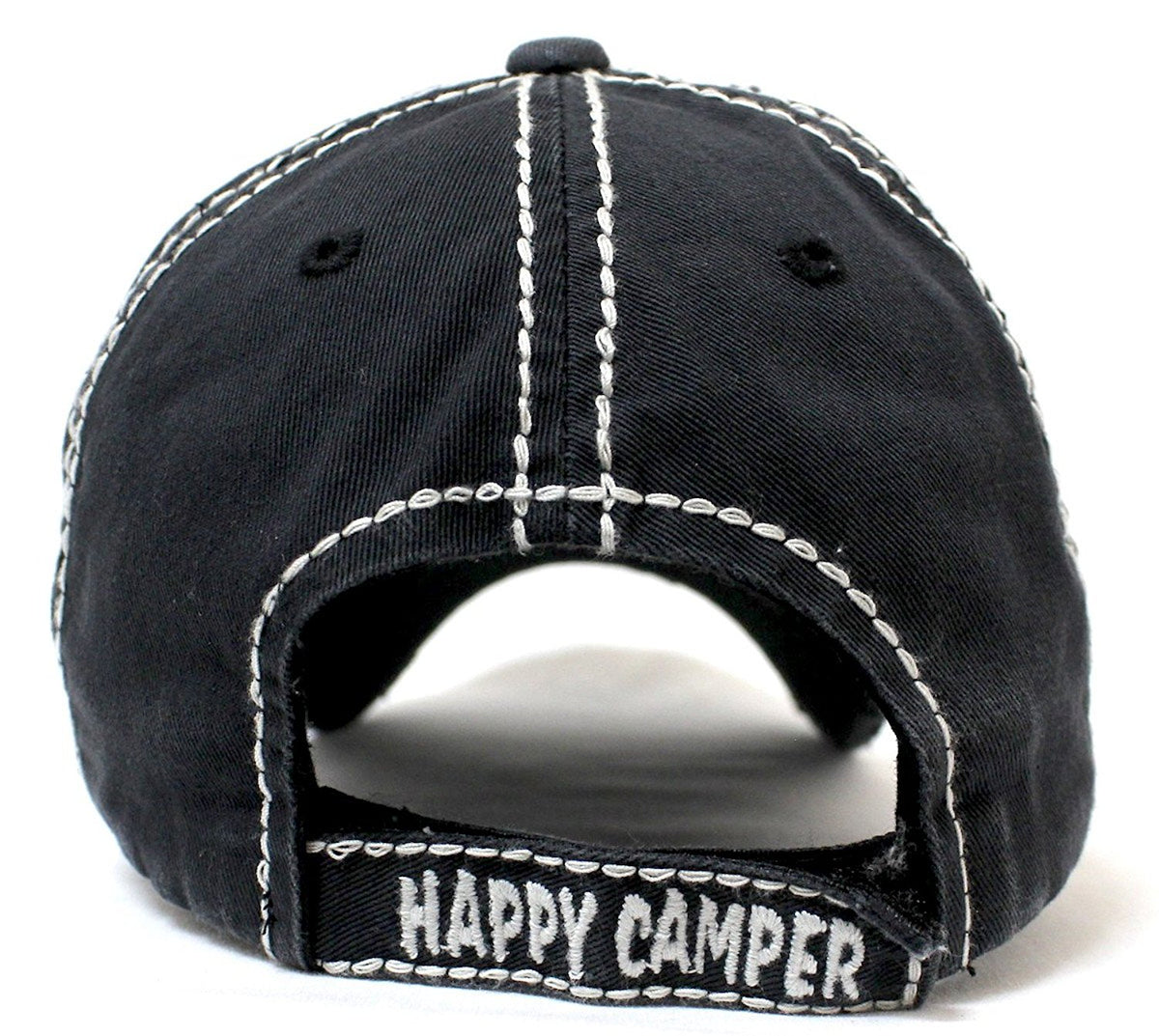 NEW!! Happy Camper Camp Fire Patch Embroidery Baseball Hat - Caps 'N Vintage
