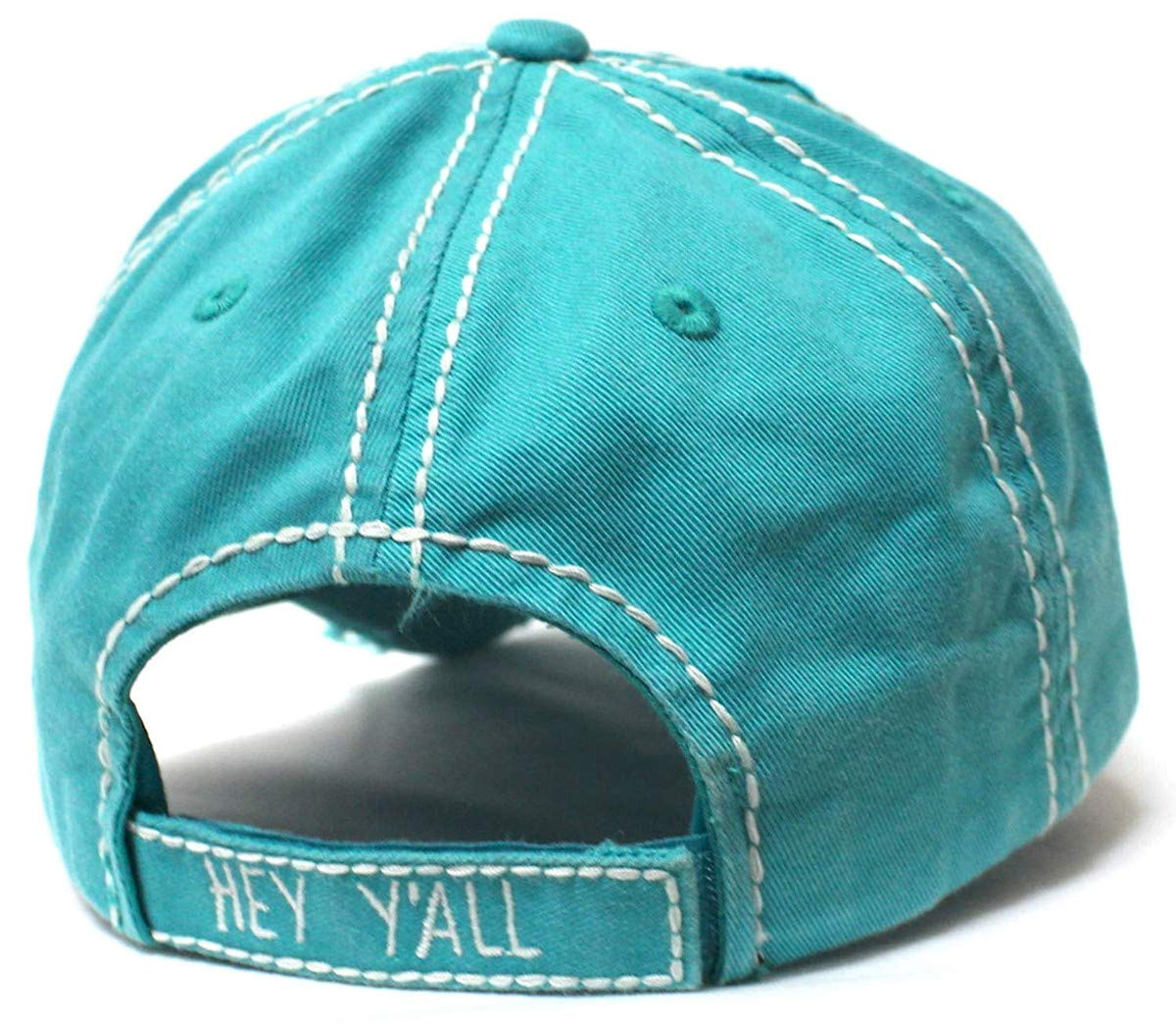New!! Jewel Turquoise Hey Y'all Velvet Patch Emroidery Hat w/Heart Detail - Caps 'N Vintage