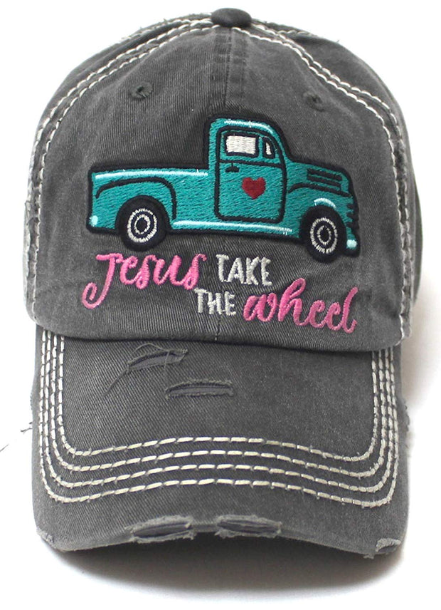 Women's Camping Cap Jesus Take The Wheel Truck Heart Embroidery Hat, Vintage Black - Caps 'N Vintage