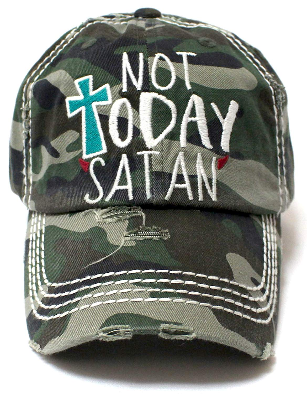 Army Camoflauge NOT Today Satan Devil's Horns Ballcap - Caps 'N Vintage