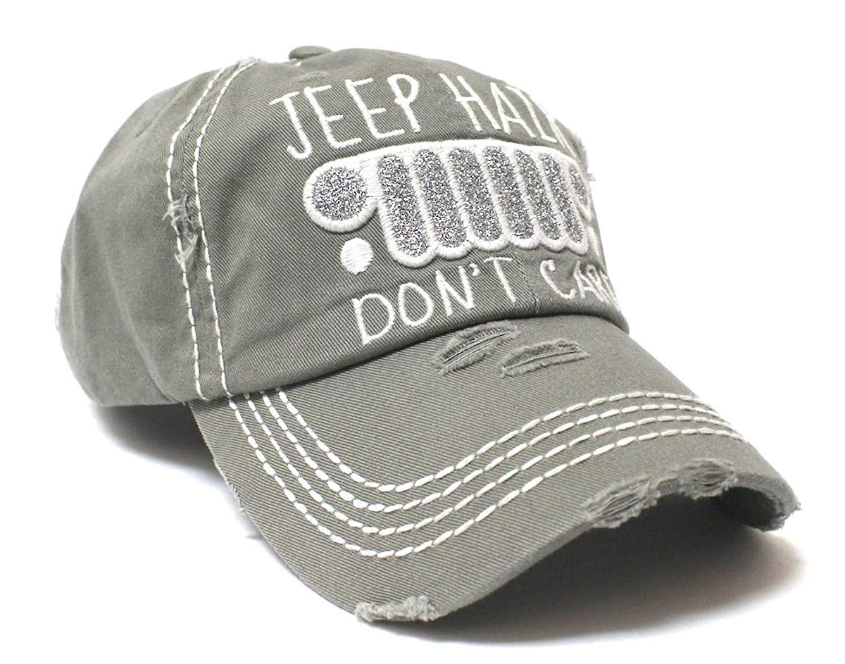 Silver Mist Grey Jeep Hair Don't Care Glitter Monogram Cap - Caps 'N Vintage