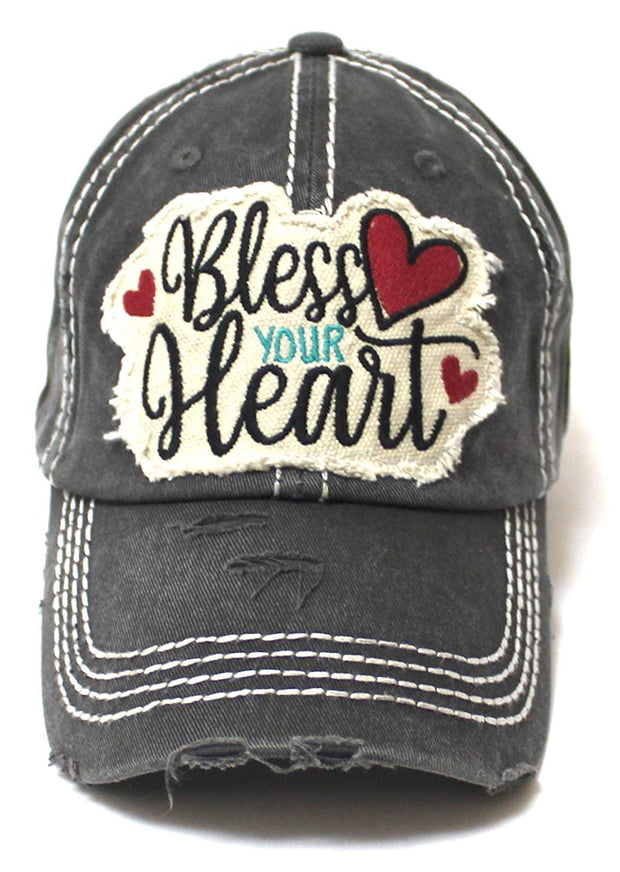 CAPS 'N VINTAGE Women's Baseball Cap Bless Your Heart Patch Embroidery & Hearts Monogram, Black - Caps 'N Vintage
