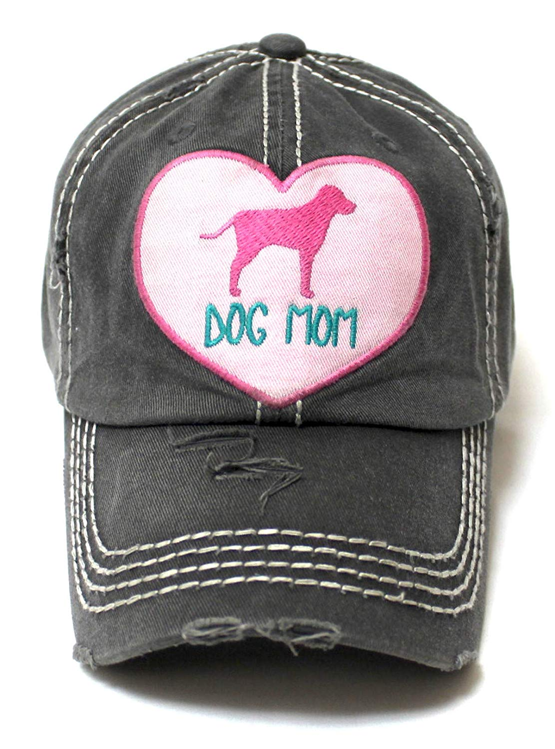 16b2be549e0aae Women's Love Pink Cap Dog MOM Heart Patch Embroidery, Blk - Caps 'N Vintage