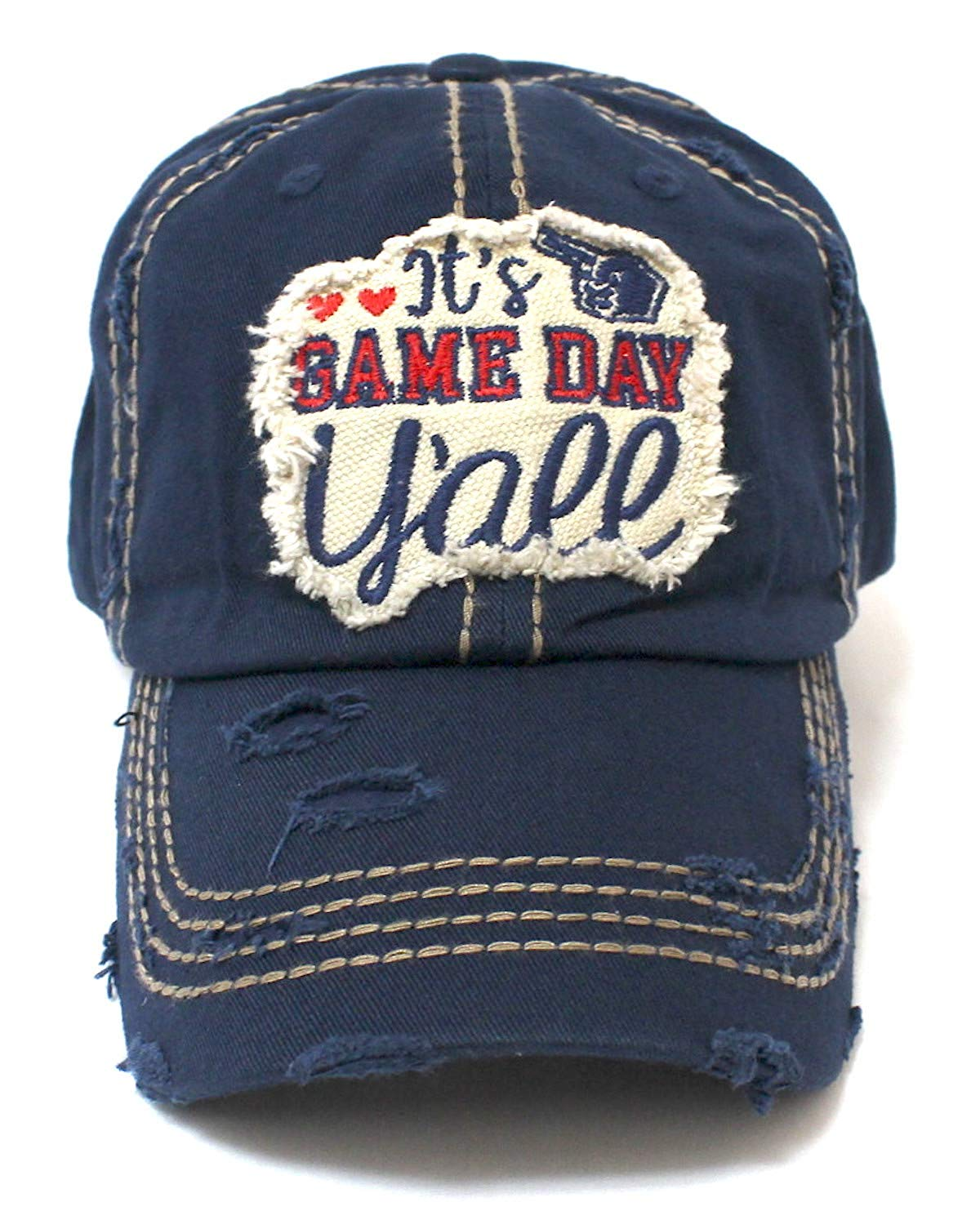 Navy Women's It's Game Day Y'all! Patch Embroidery Hat - Caps 'N Vintage