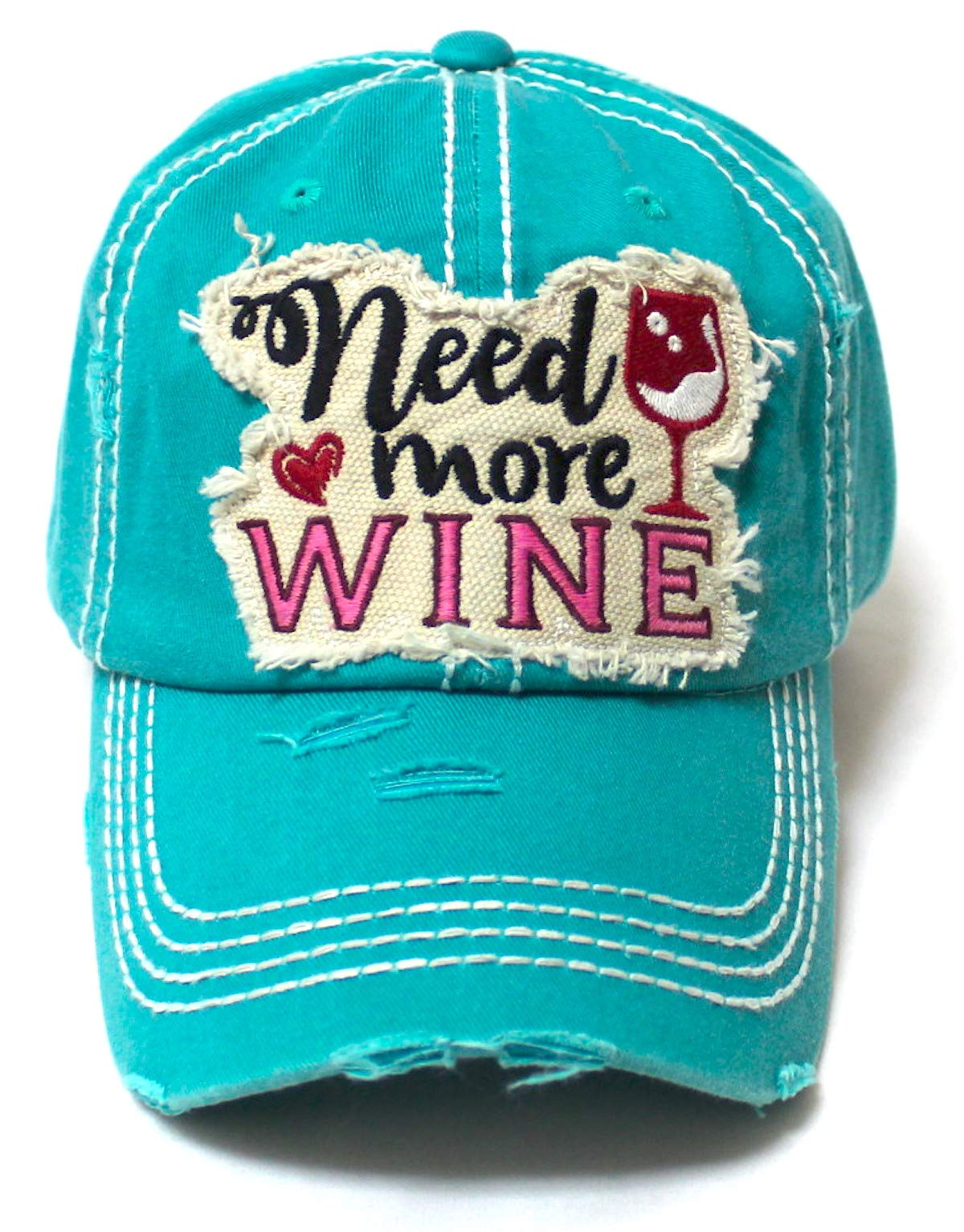 Women's Ballcap Need More Wine for The Love of Vino Patch Embroidery Hat, Jewel Turquoise