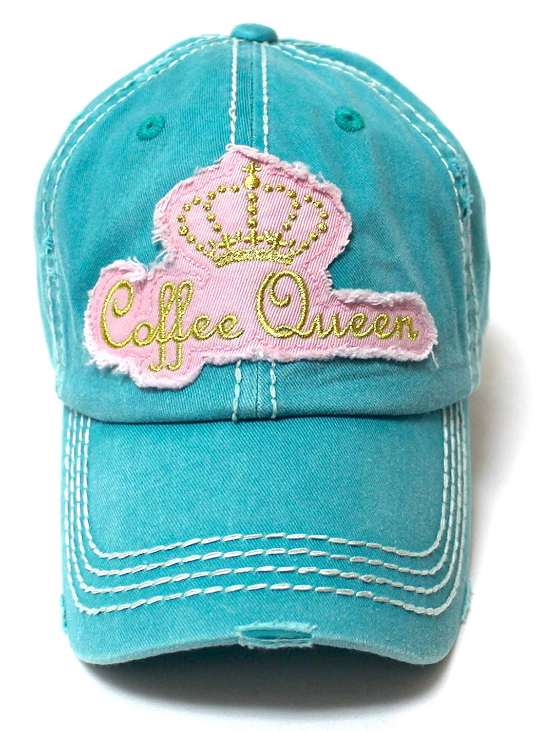 Women's Adjustable Ballcap Coffee Queen Royalty Patch Embroidery, Turquoise - Caps 'N Vintage