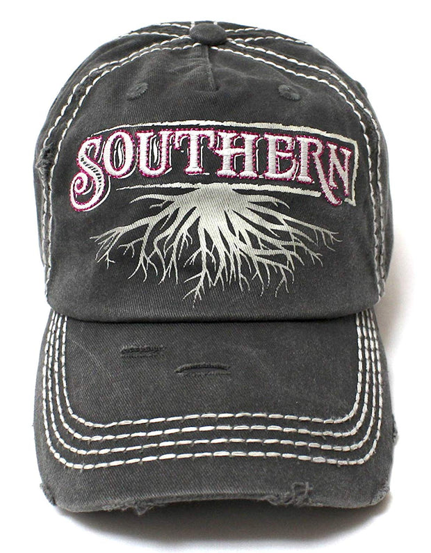 Charcoal Black Southern Roots Sparkle Monogram Cap - Caps 'N Vintage
