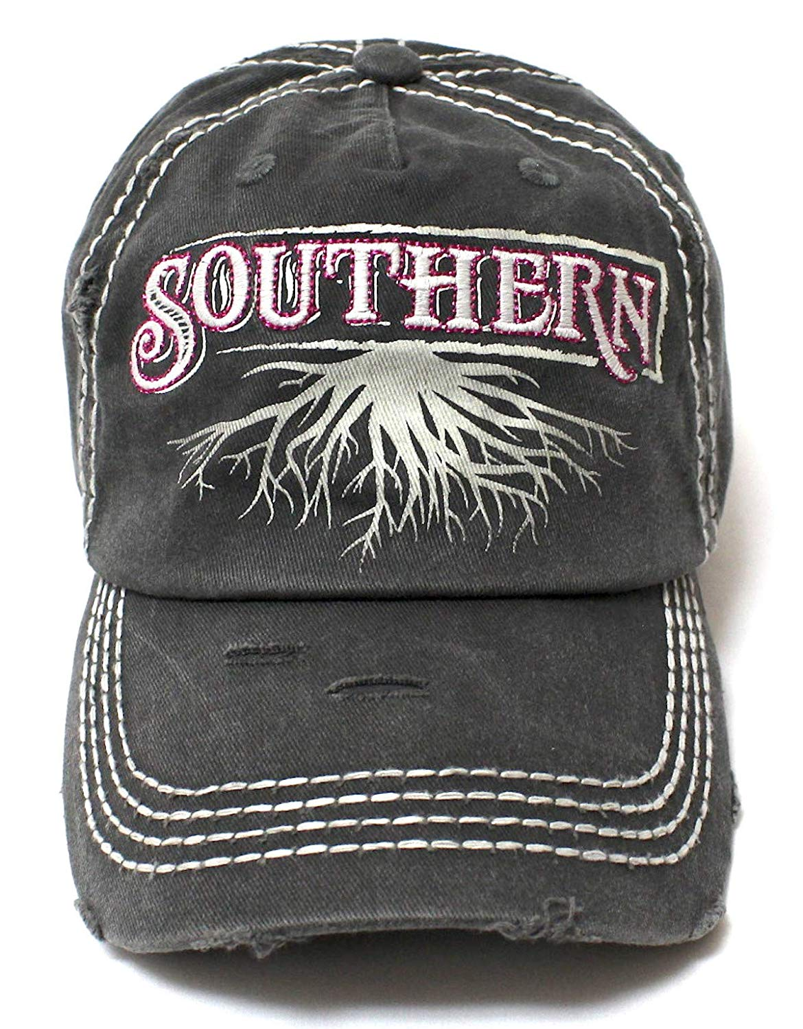 Southern Roots Sparkle Monogram Cap in Vintage Black - Caps 'N Vintage