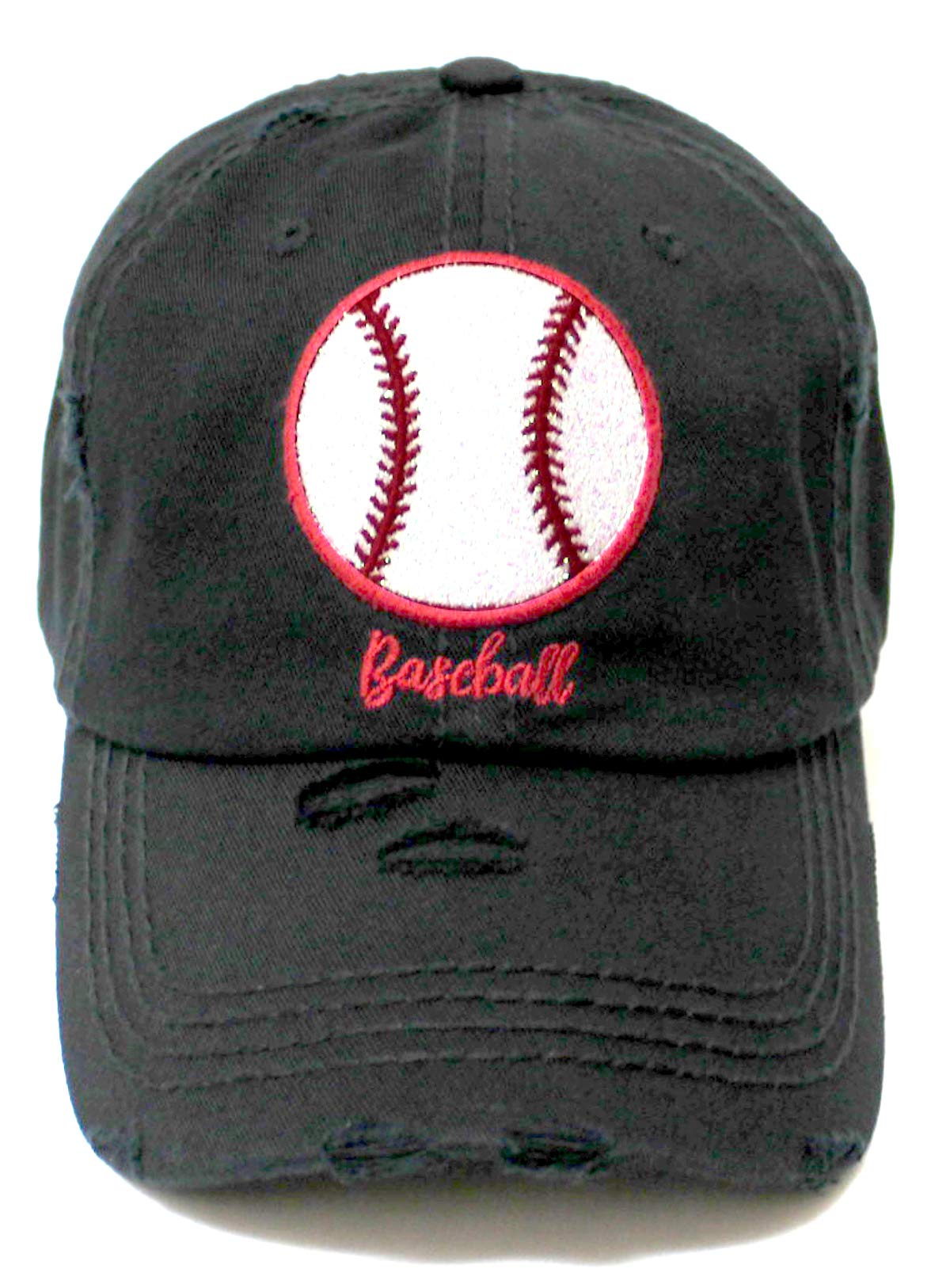 Distressed Baseball Hat Sparkle Ball Embroidery Baseball Monogram Vintage Hat, Pitch Black - Caps 'N Vintage