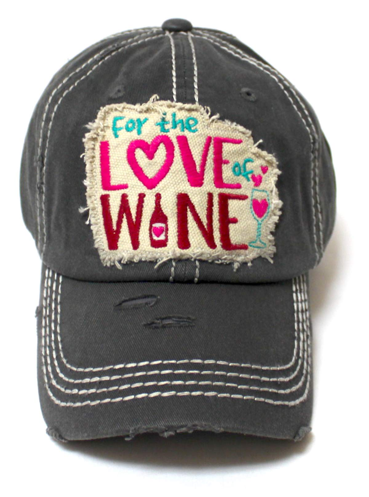 Women's Baseball Cap for The Love of Wine Patch Embroidery Hearts & Bubbles Monogram Hat, Vintage Black - Caps 'N Vintage