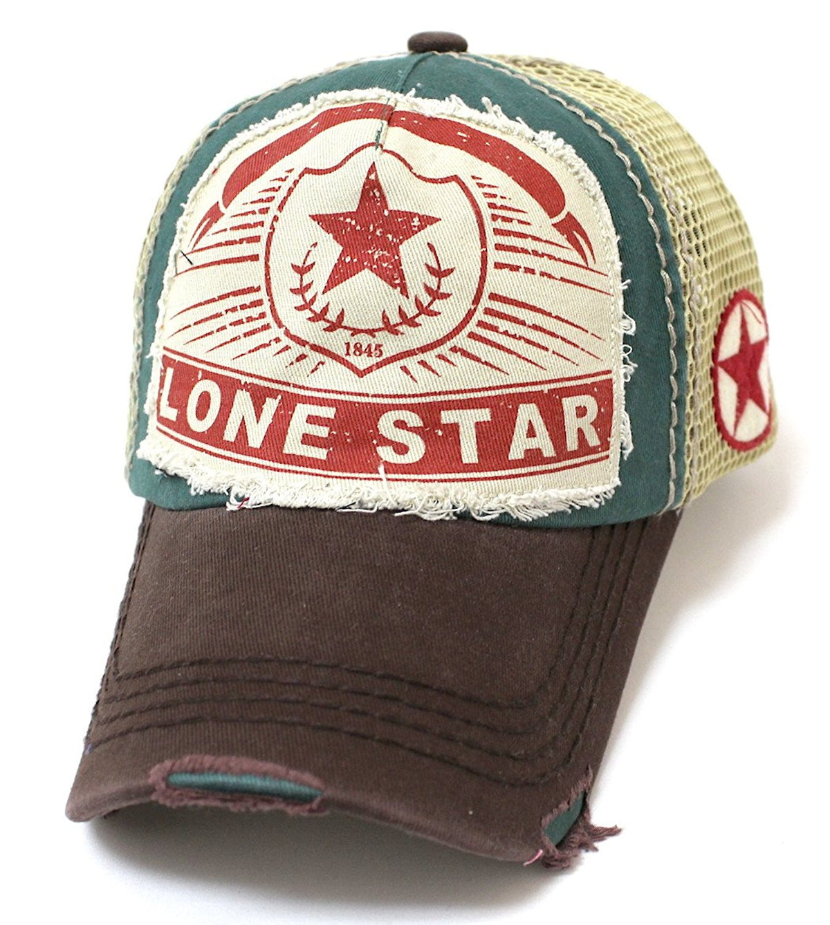 CAPS 'N VINTAGE Meshback Lonestar Distressed, Patch Embroidery Trucker Hat - Caps 'N Vintage