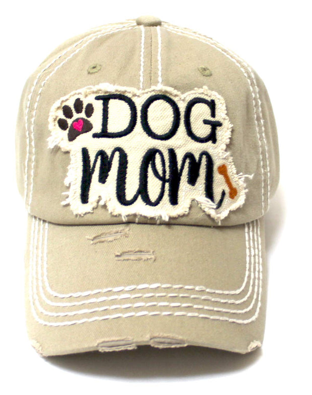 Women's Distressed Ballcap Dog Mom Puppy Love Patch Embroidery Hat, Army Khaki - Caps 'N Vintage