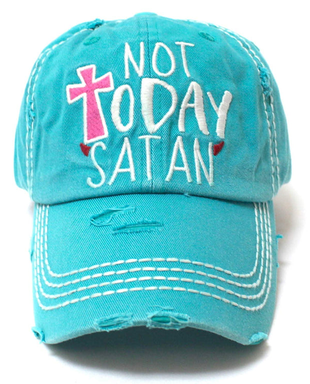 Not Today Satan Humor Graphic Adjustable Ballcap, Turquoise - Caps 'N Vintage