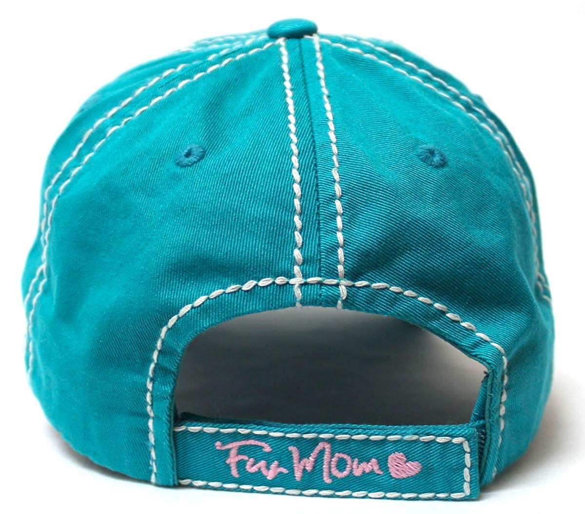 Women's Distressed Graphic Cap Fur Mom Fuzzy Dog Paw Embroidery, Turquoise - Caps 'N Vintage