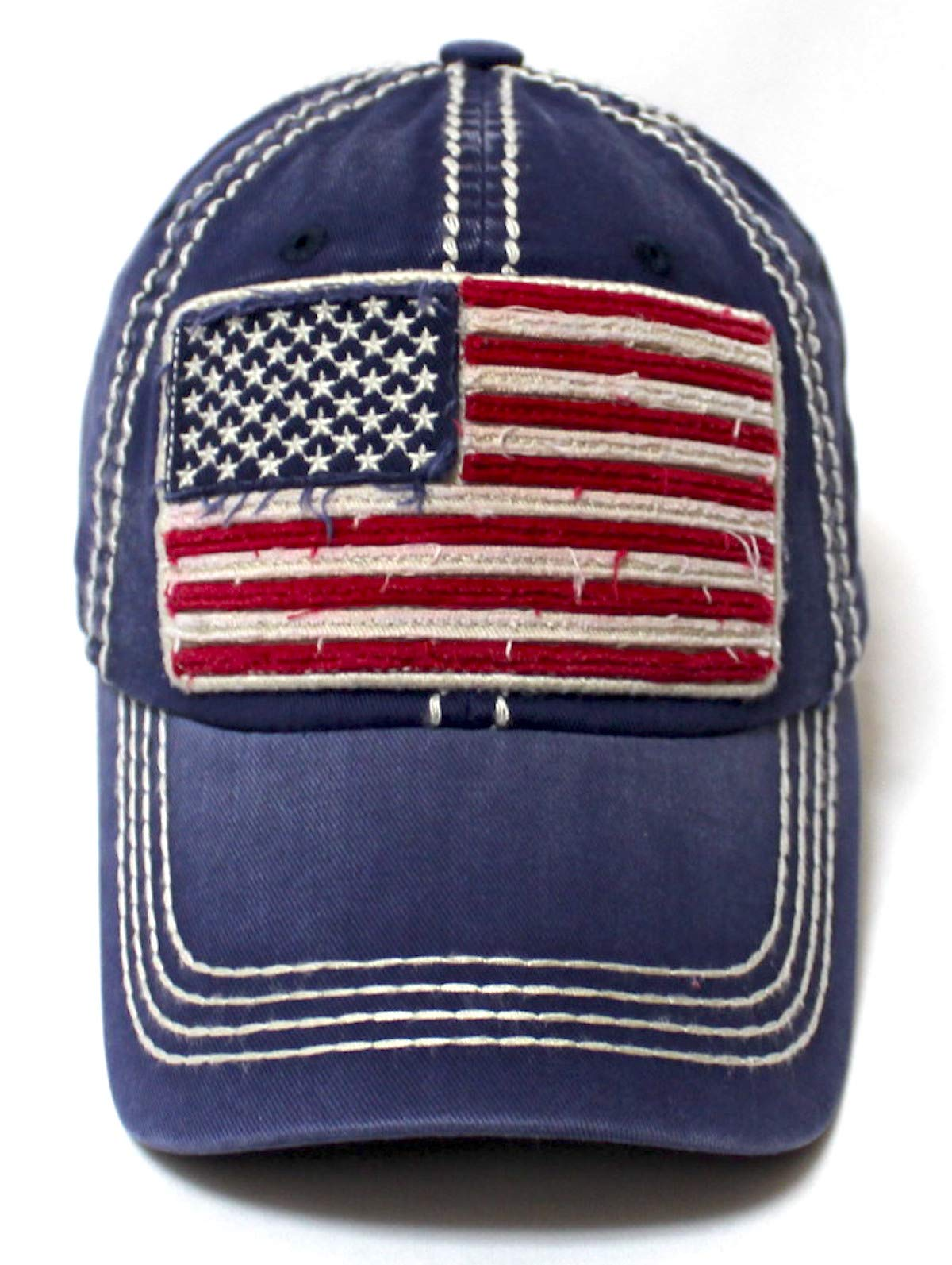 Vintage Navy Blue Oversized American Flag Patch Embroidery Baseball Cap
