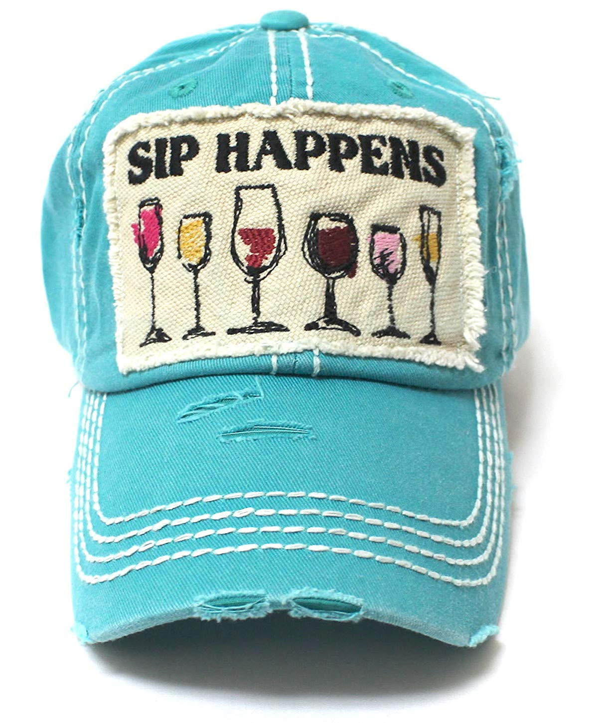 Turquoise SIP Happens Patch Embroidery Cap w/Humor Wine Glasses - Caps 'N Vintage