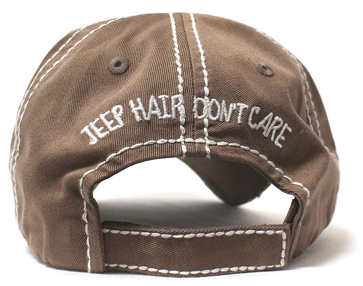 Mocha Brown Jeep Hair Don't Care Glitter Monogram Cap - Caps 'N Vintage