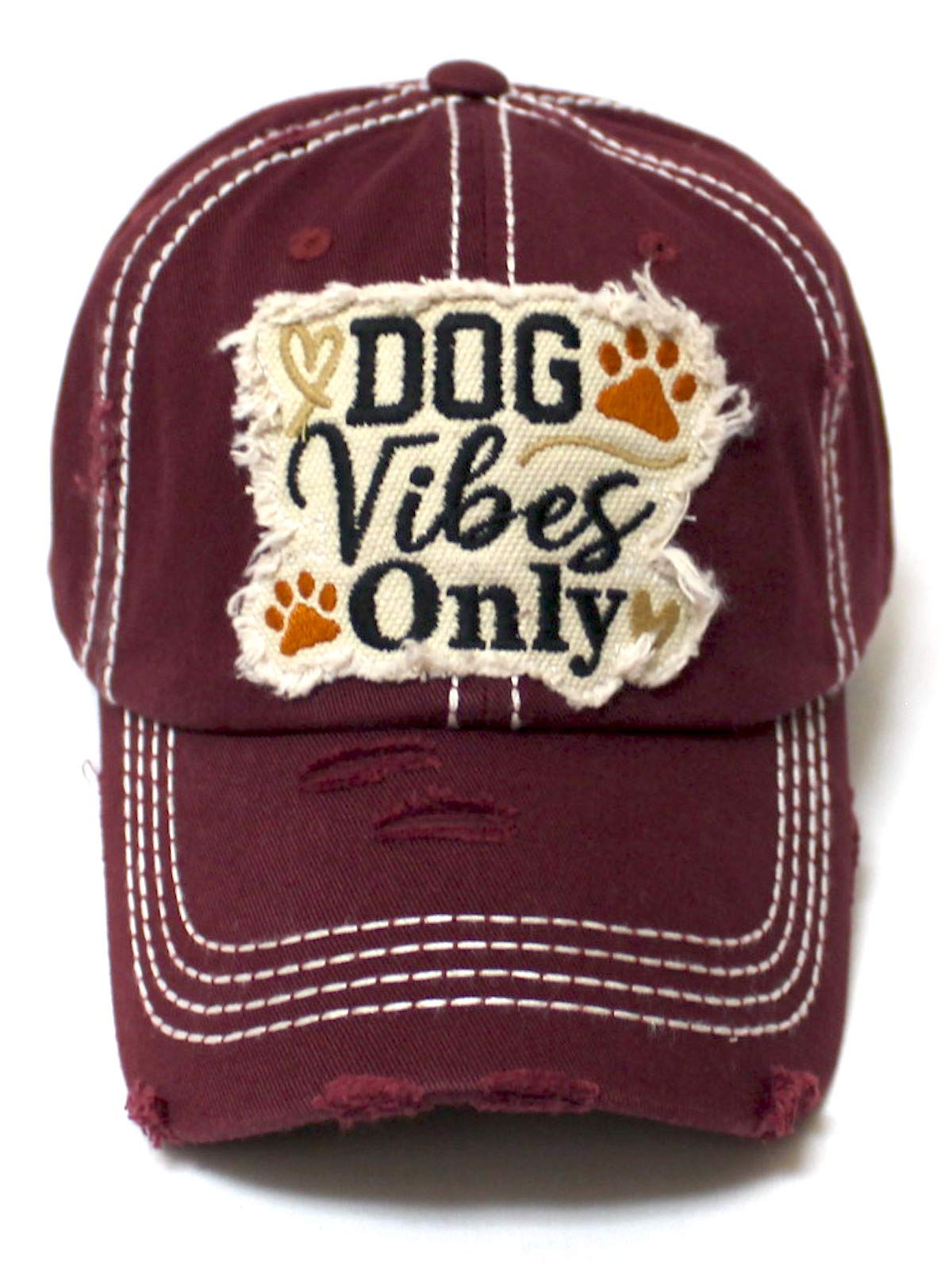 Classic Distressed Adjustable Baseball Cap Dog Vibes Only Hearts, Paws & Bone Monogram Hat, Wine Burgundy - Caps 'N Vintage