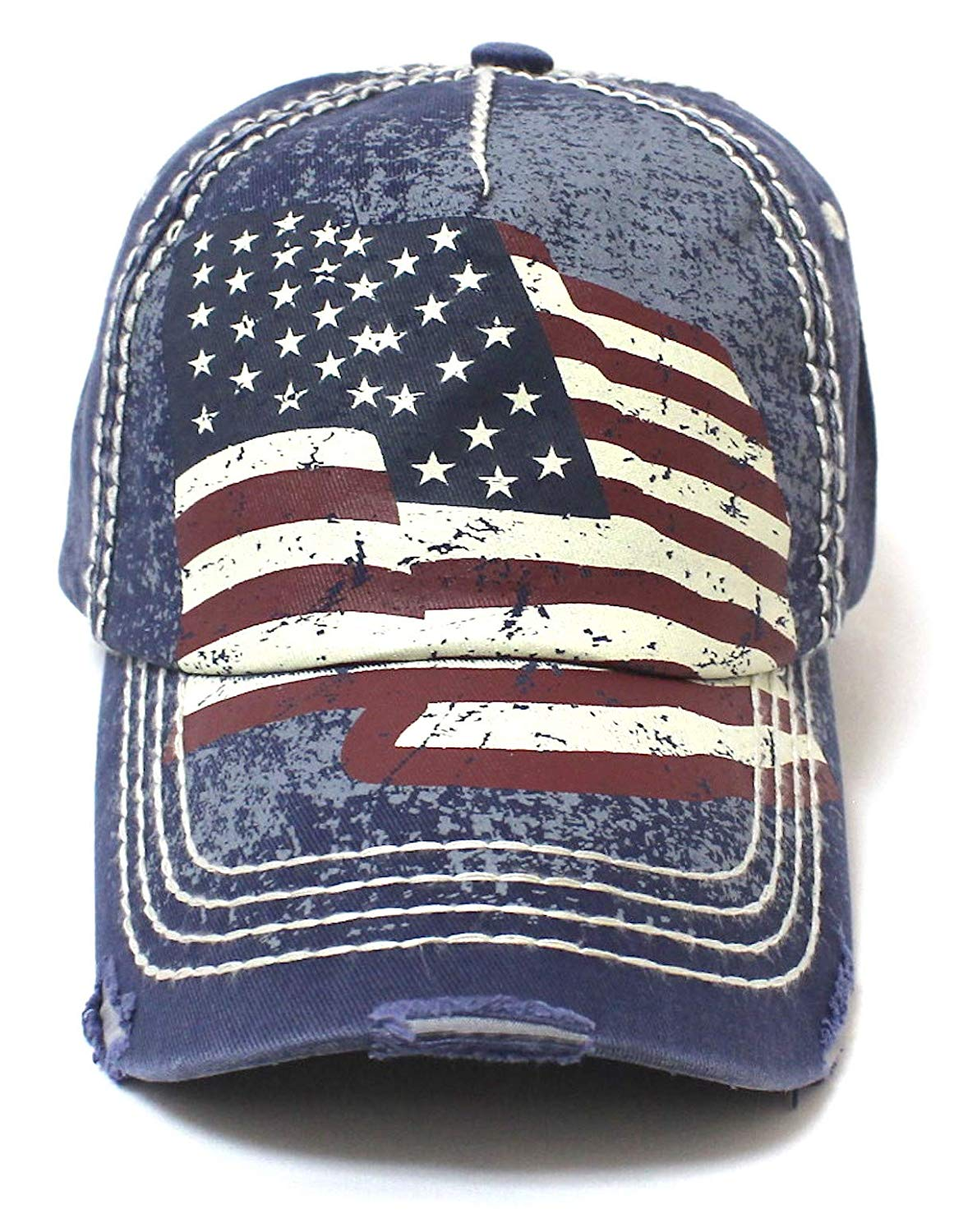 New! Amercan Navy Folding USA Flag Vintage Ballcap - Caps 'N Vintage